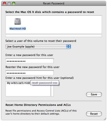 Forget OS X Password