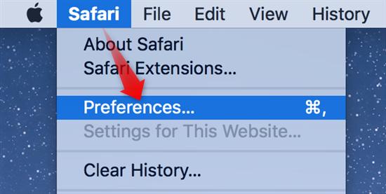 Open Safari Settings and Click Preferences