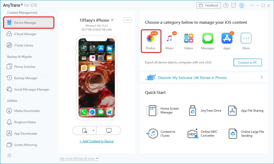 Manage Screenshots on iPhone with AnyTrans for iOS – Step 1