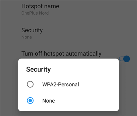 Turn off the Hotspot Password