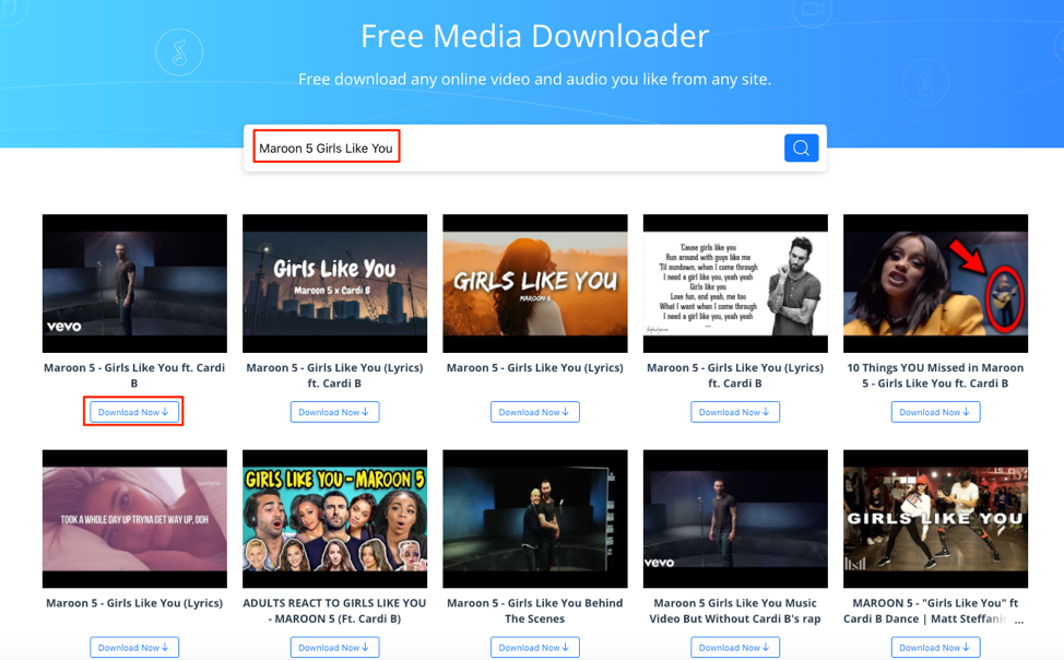 Download Marroon 5 Girls Like You with AnyGet Media Downloader – Step 1