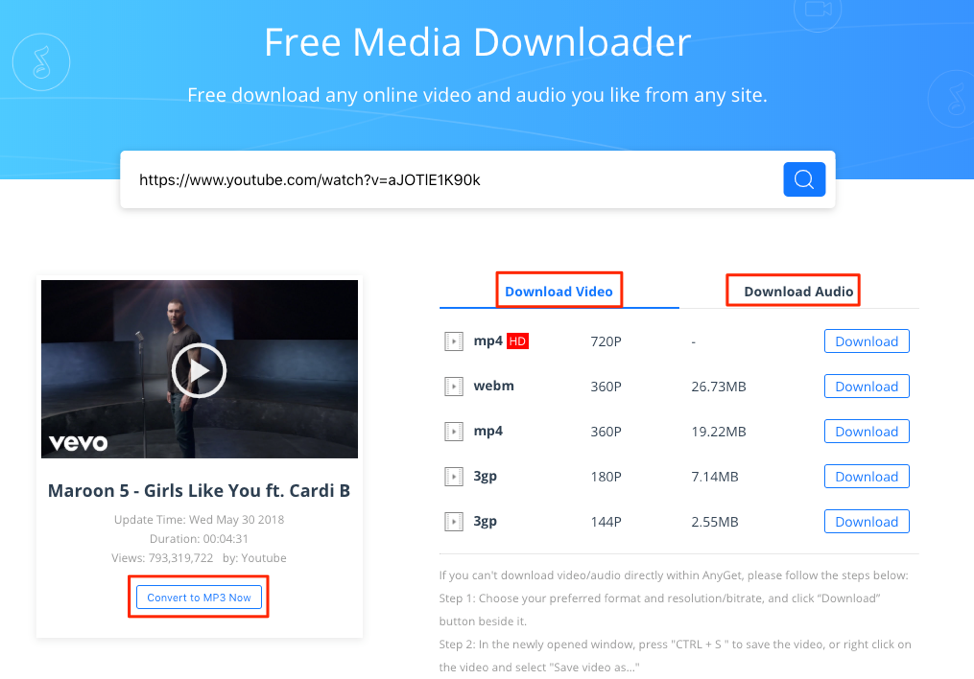 Download Marroon 5 Girls Like You with AnyGet Media Downloader – Step 2