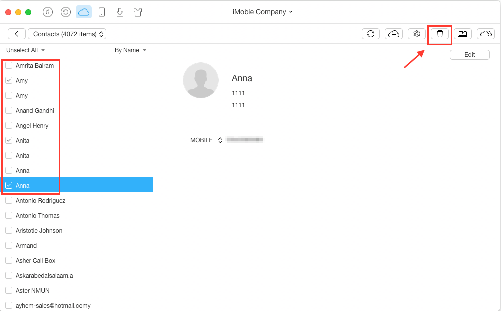 Merge Duplicate Contacts on iCloud with AnyTrans - Step 3