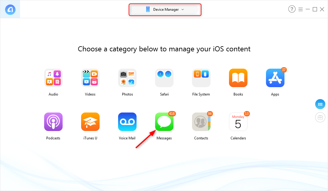 How to Backup iPhone Messages to Computer Selectively – Step 1