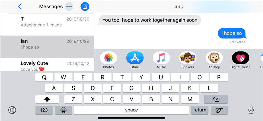 Tap and View Messages in Column