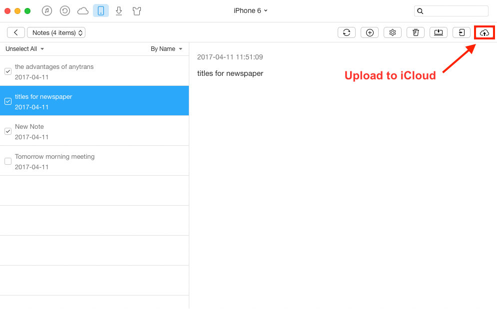 Transfer Notes from iPhone to iCloud with AnyTrans - Step 3