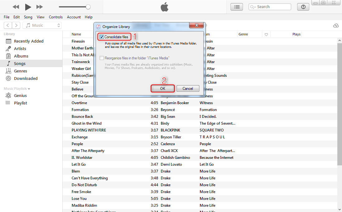 How to Move iTunes Library to External Drive with iTunes - Step 2