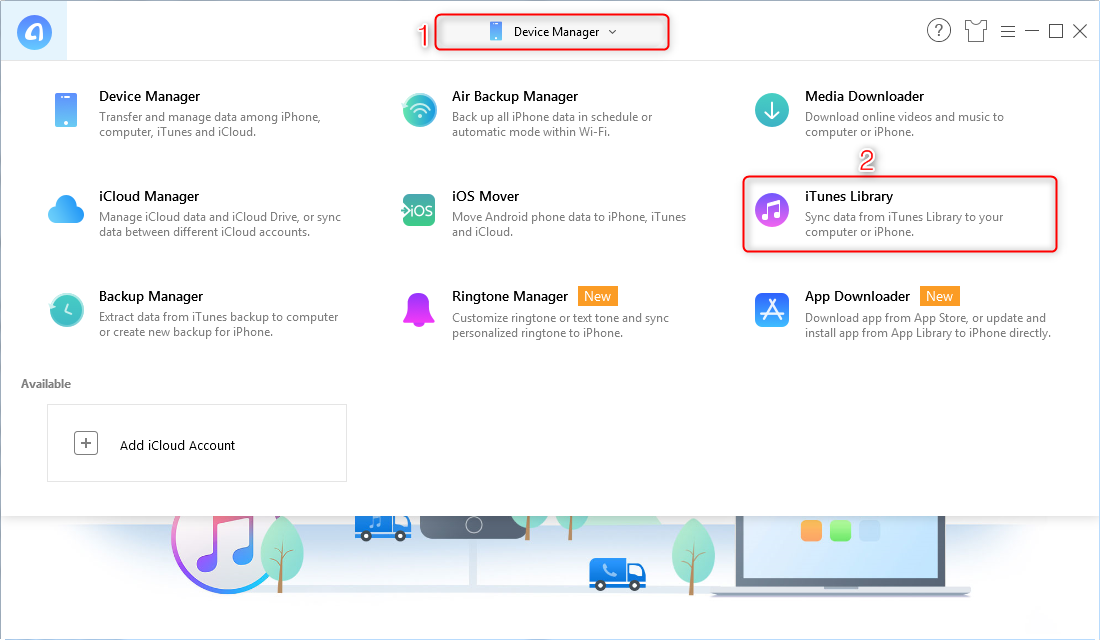How to Move iTunes Library to External Hard Drive with AnyTrans for iOS - Step 1