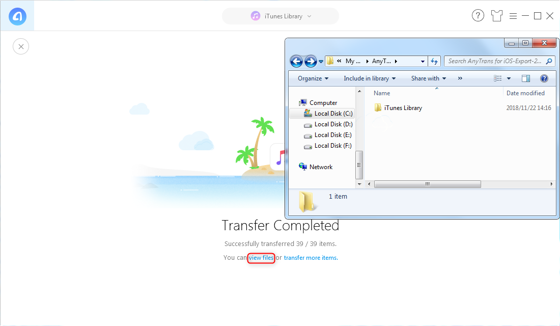 How to Move iTunes Library to External Hard Drive Windows with AnyTrans for iOS - Step 3