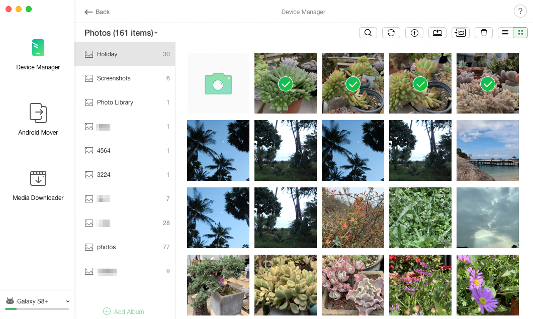 Select and move photos from SD card to phone
