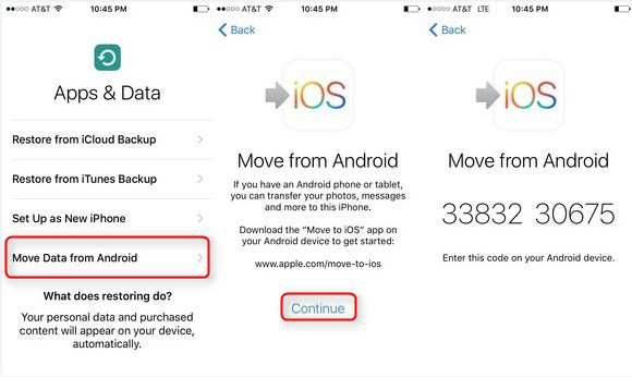 Move to iOS Instructions - Step 1