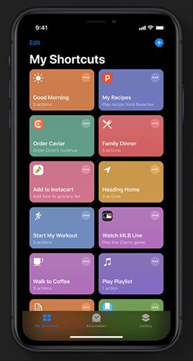 The Shortcuts app in iOS 13 Image Credit: Apple.com