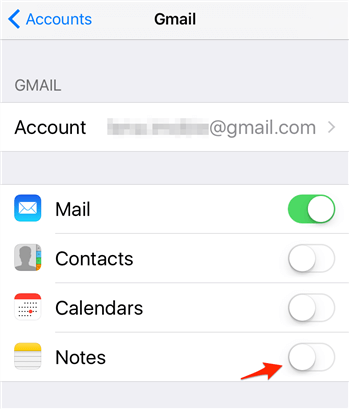 Turn on Notes in Email Settings