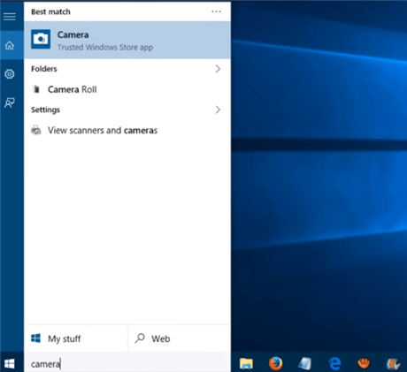 Open and Set up Webcam in Laptop Windows 10 via the Camera Shortcut