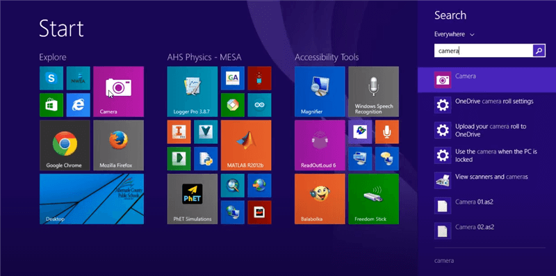 Open and Set up Webcam in Laptop Windows 8 via the Camera App