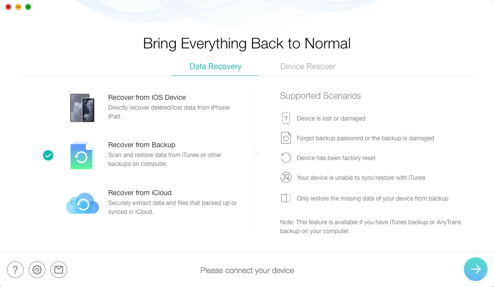 Choose Recover from Backup