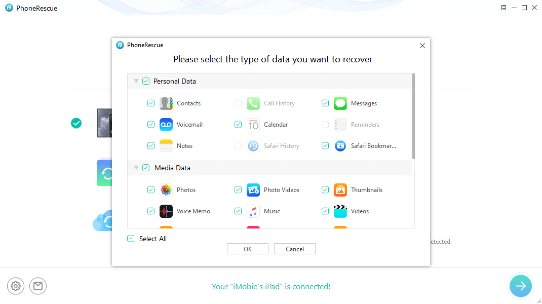 Select Data You Want Recover from iPad