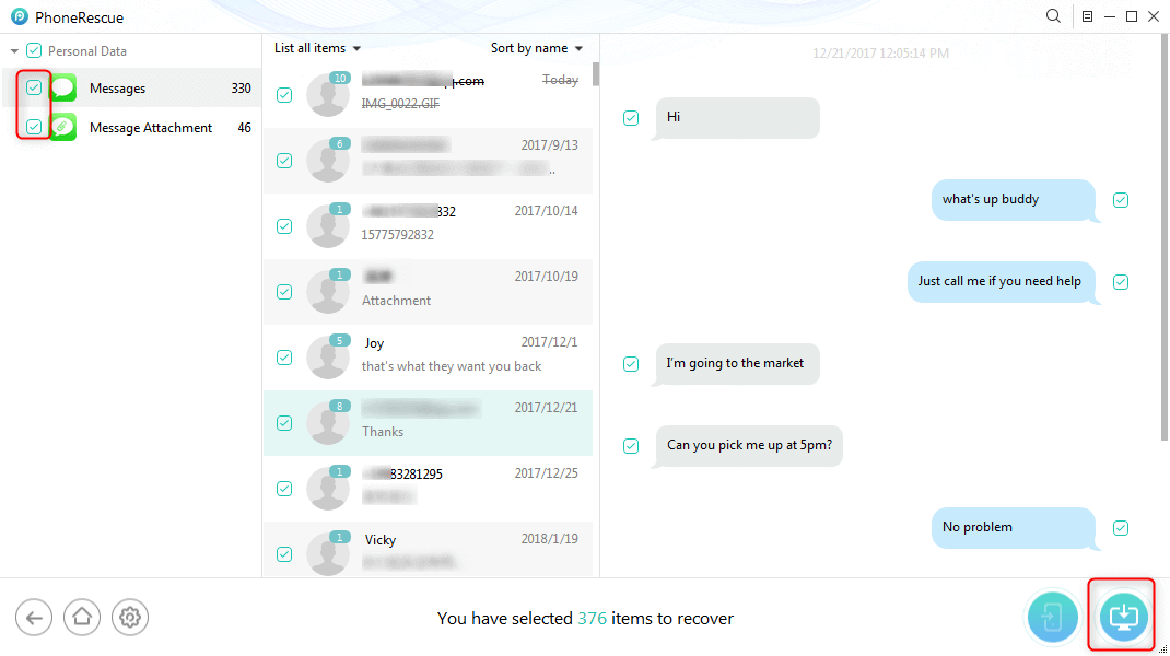Select Messages to Restore