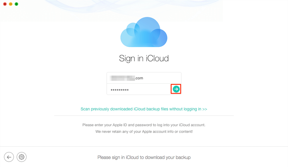 Sign in iCloud to Download iCloud Backup