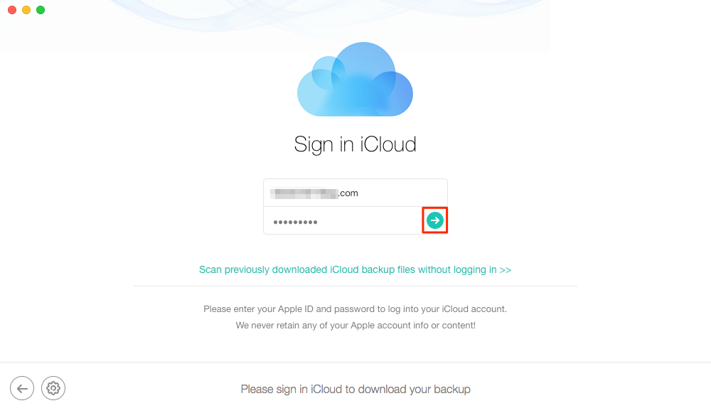 Enter your Apple ID Account