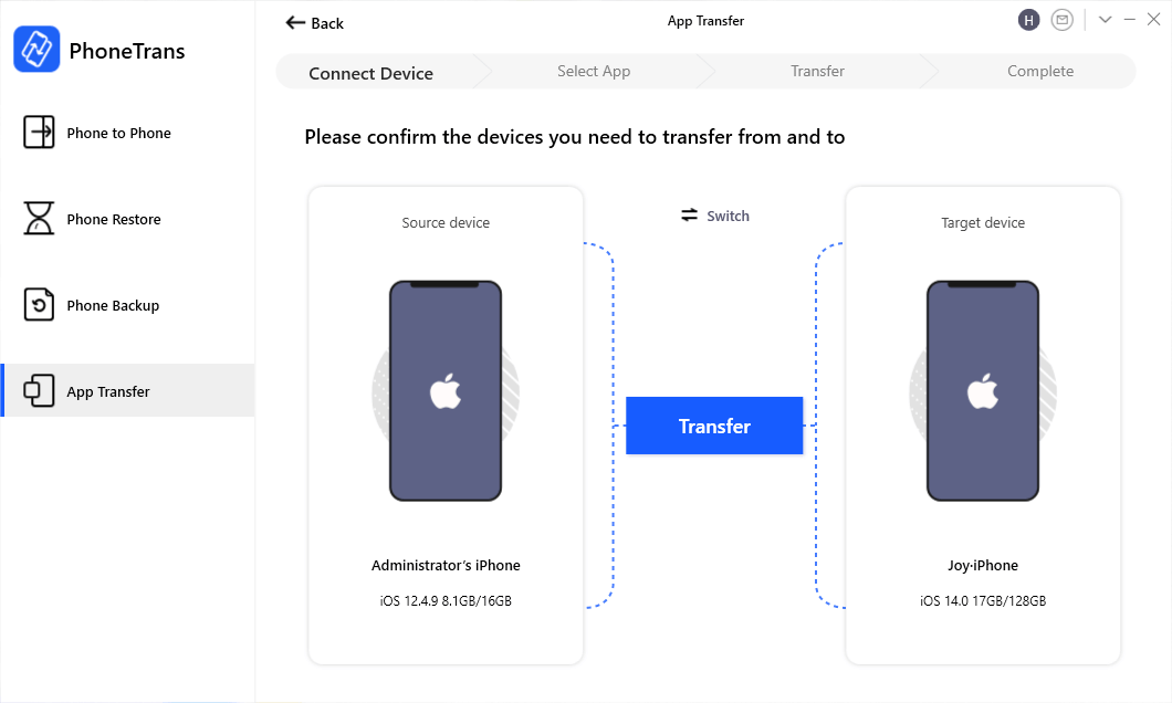 Tap Transfer to Go on Apps Transfer on PhoneTrans