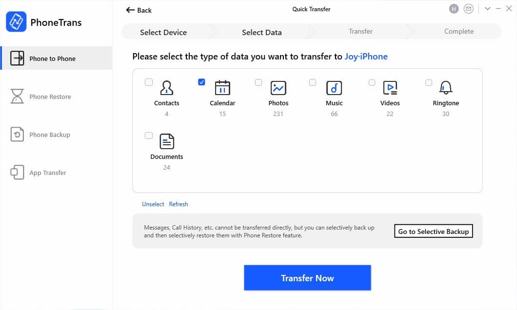Select Calendar Tab to Transfer from iPhone to iPhone