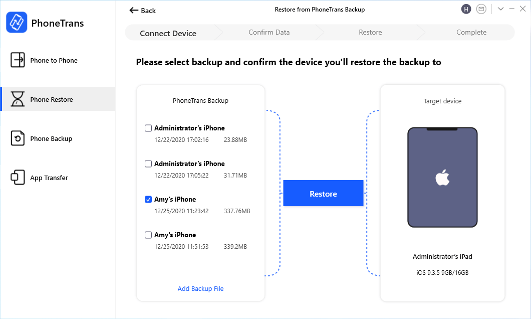 Choose One iPhone Backup to your iPad