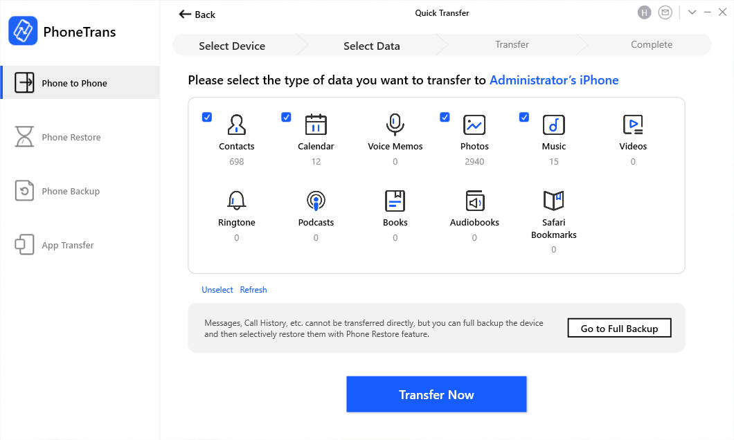 Choose Data to Transfer