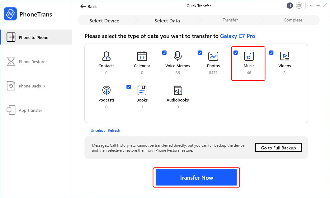 Select Music Type to Transfer Now