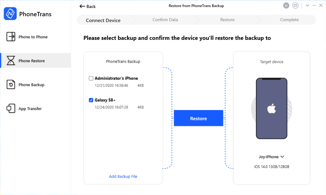 Choose the Android Backup