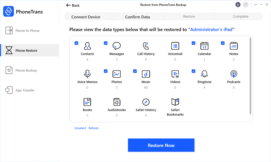 Select All Data from iPhone Backup to iPad