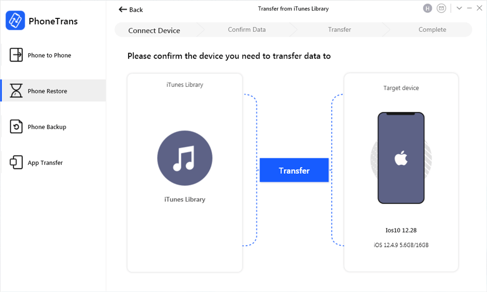 Start to Transfer from iTunes Library to iPhone