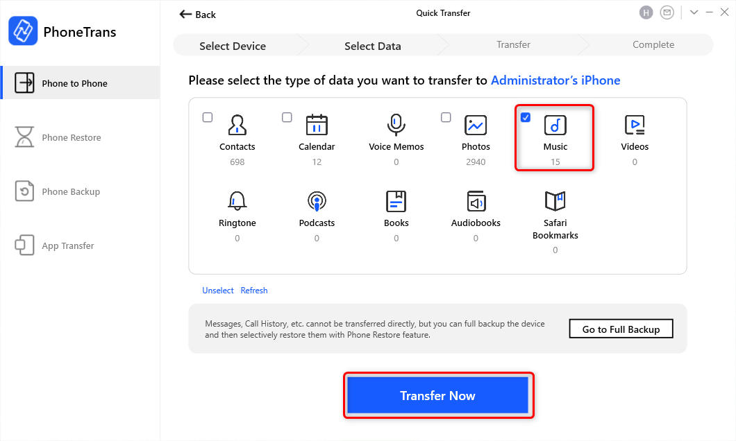 Choose Music and Click Transfer Now
