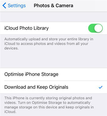 Enable iCloud Photo Library on the new iPhone