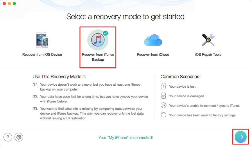 Restore iPhone from iTunes Backup without Data Erasing – Step 2