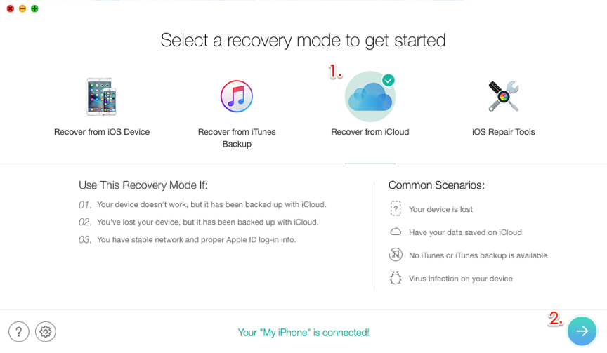 Restore iPhone from iCloud Backup without Data Erasing – Step 2