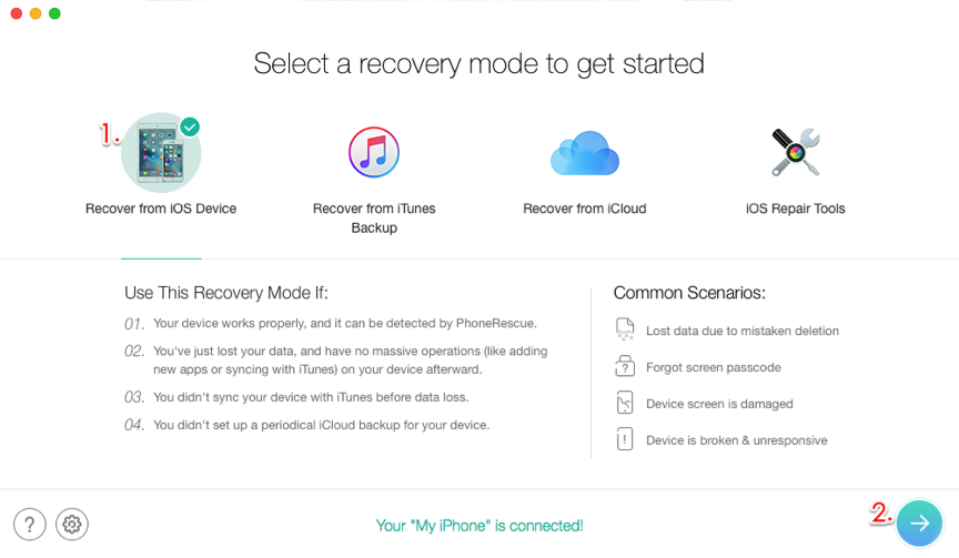 Recover Disappeared Photos without Backup – Step 2