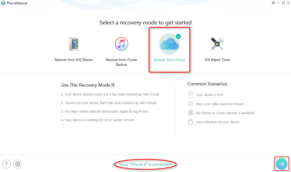 Get Back Missing Photos from iCloud Backup - Step 2