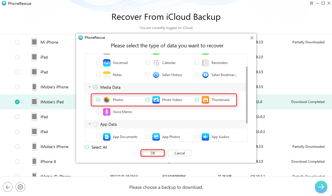 Get Back Missing Photos from iCloud Backup - Step 5