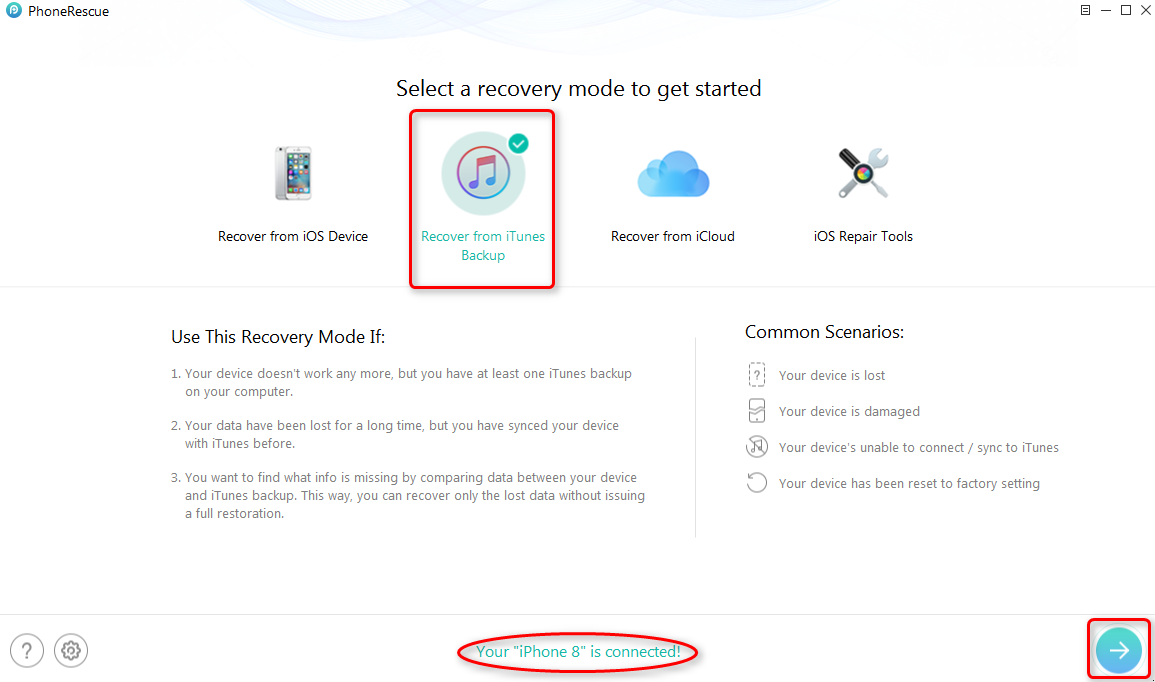 Get Back Missing Photos from iTunes Backup – Step 2