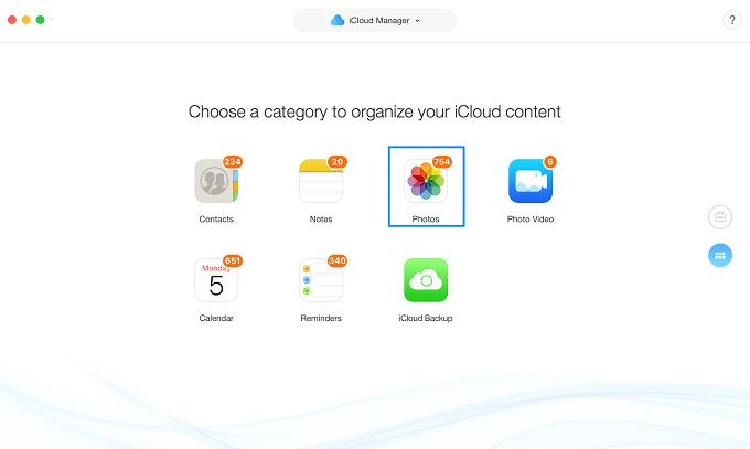 Choose Photos to manage iCloud photos