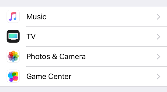 Access the Photos settings on your iOS device