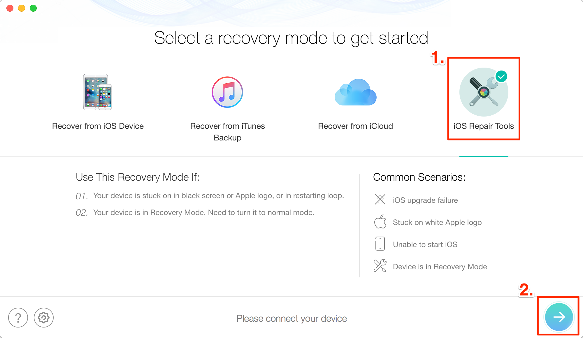"How to Fix ""iPhone iPad Won't Turn on"" with PhoneRescue – Step 2"
