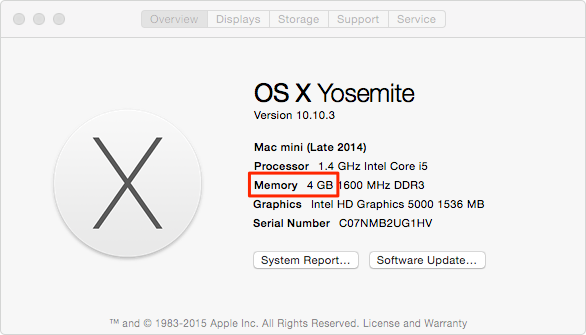Prepare Mac for Mac OS X El Capitan - Check RAM