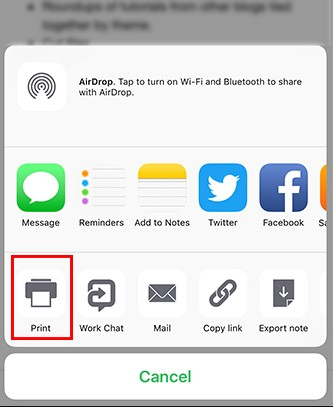 Print iPad Calendar Using AirPrint