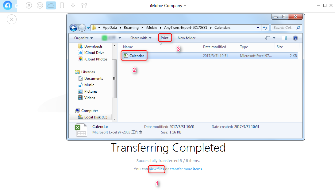 How to Print iCloud Calendar from PC wth AnyTrans- Step 3