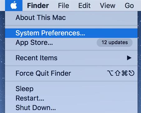 Launch Mac settings menu