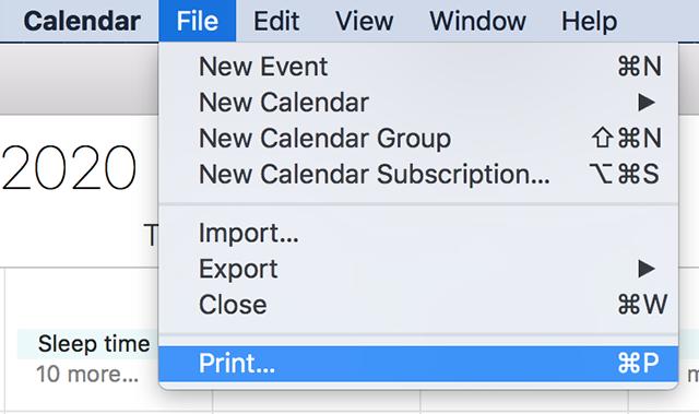 Print an iPhone calendar on the Mac