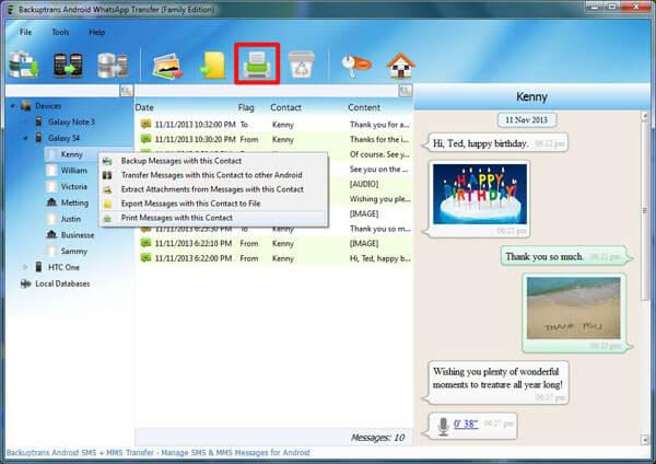 Print Messages Contact via Backuptrans
