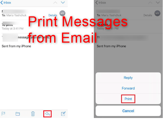 Print Messages on iPhone from Email